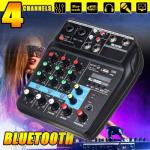 DJ Mixer 4 Channels Mixing Console Effects Processor with Sound Card - AMX4
