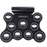 Digital Electronic 9 Pads Drum Set Compact Size Roll-Up Silicon Drum Set with Drumsticks - M438