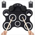 Digital Electronic 9 Pads Drum Set Compact Size Roll-Up Silicon Drum Set with Drumsticks Waterproof - M439